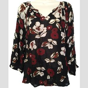 Lucky Brand Sz M Floral Black Peasant Blouse Top